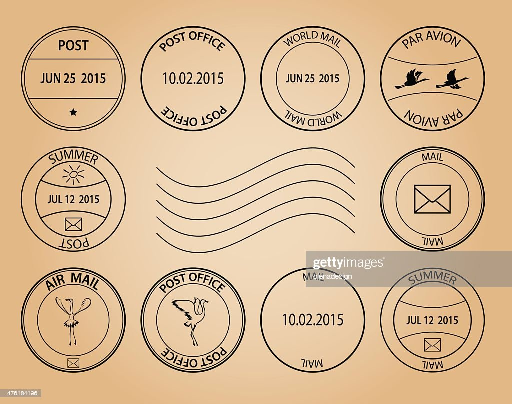post stamps on aged background - vector
