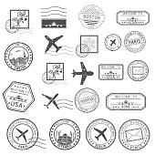 Post stamps. Set of black postmarks and travel Welcome stamps