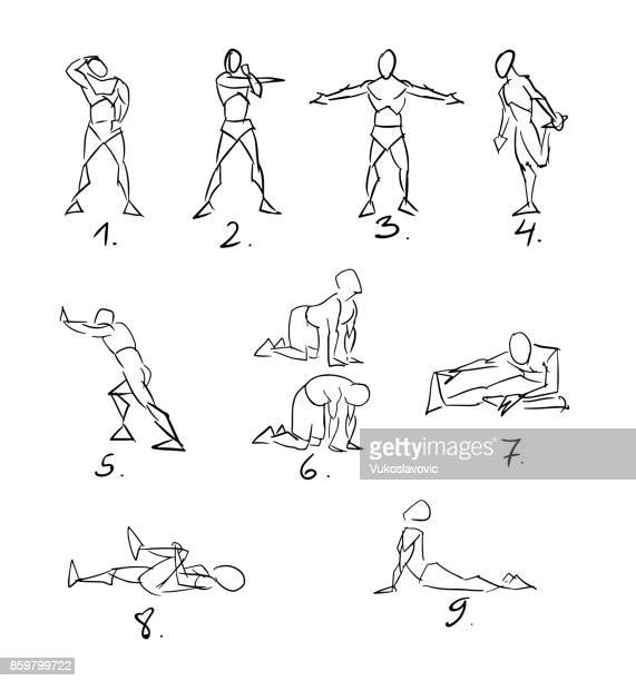 post workout stretchig exercises sketch - stretching stock illustrations, clip art, cartoons, & icons