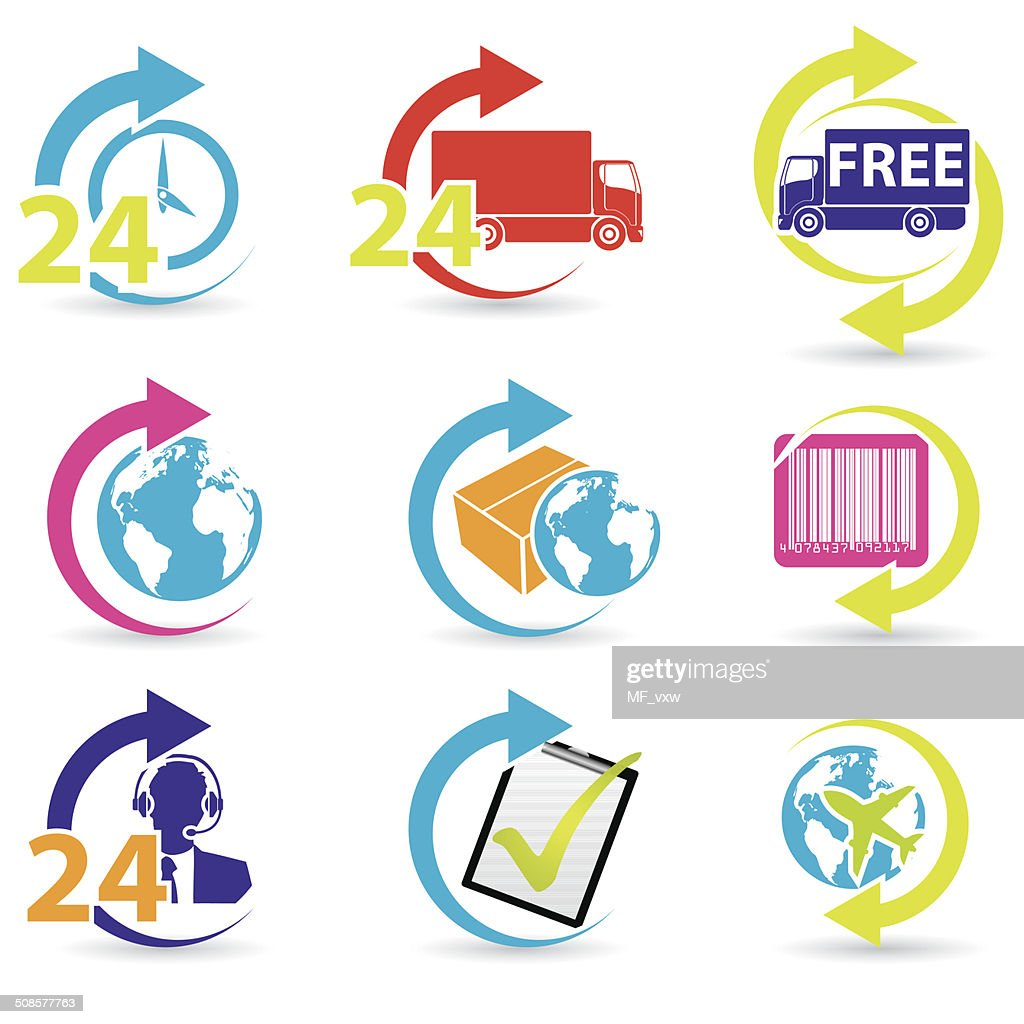 Postage and support related icons : Vector Art