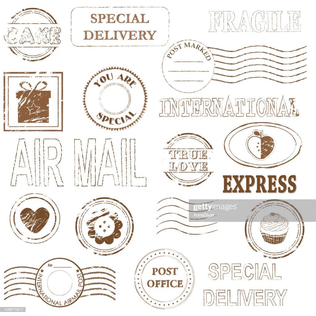 Postage Stamp Cancellation marks Set