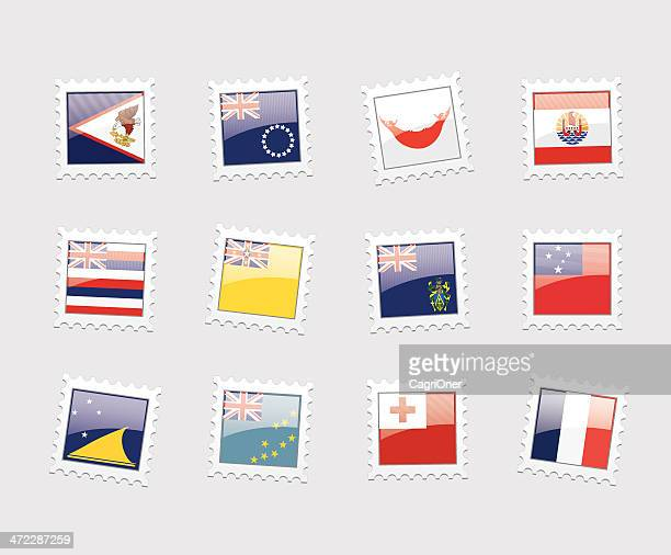 postage stamp flags: polynesia - tuvalu stock illustrations, clip art, cartoons, & icons