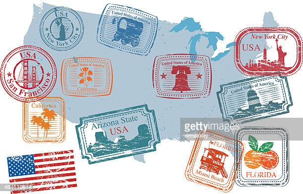 usa postage stamps - postmark stock illustrations