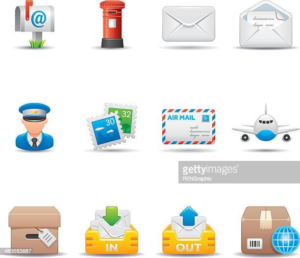 illustrations, cliparts, dessins animés et icônes de postal & correspondance ensemble d'icônes élégante série / - facteur