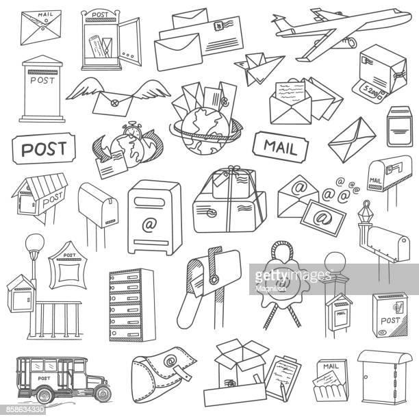 postal doodles set - post office stock illustrations, clip art, cartoons, & icons