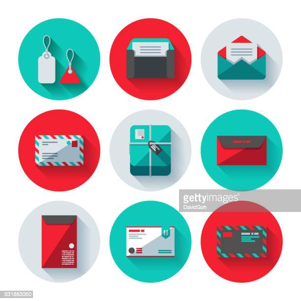 postal icon set - gift tag note stock illustrations