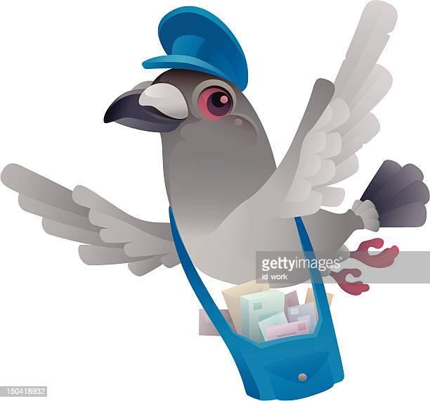illustrations, cliparts, dessins animés et icônes de pigeon postal - facteur