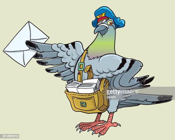 illustrations, cliparts, dessins animés et icônes de pigeon postal - colombe
