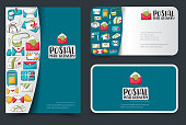 Postal service flyer and business cards set. Background for advertisement, invitation, brochure template. Hand drawn doodle cartoon style mail and package delivery courier concept. Vector illustration.
