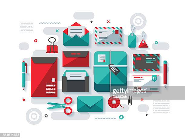 postal services flat design concept - gift tag note stock illustrations, clip art, cartoons, & icons