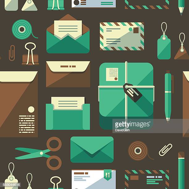 postal services flat design pattern - gift tag note stock illustrations, clip art, cartoons, & icons