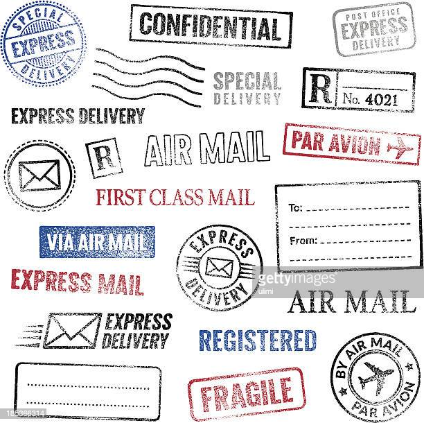 postal stamps - fragile sign stock illustrations