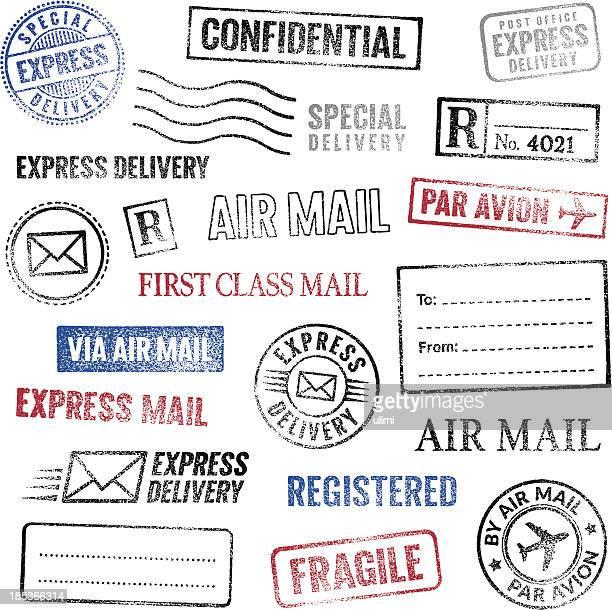 ilustrações, clipart, desenhos animados e ícones de selos postais - confidential