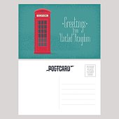 Postcard from Great Britain vector illustration with red phone booth