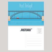 Postcard from Portugal with Porto bridge vector illustration