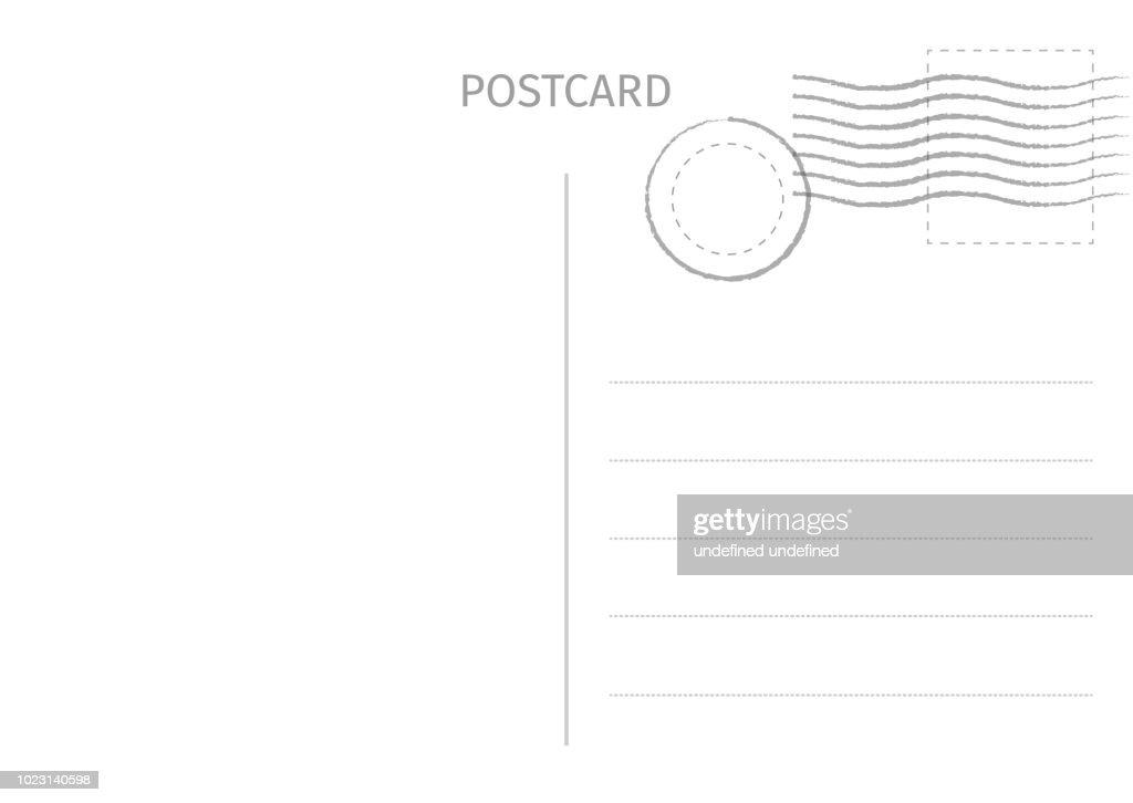 Postcard. Postal card illustration for design. Travel card design. Postcard isolated on white background. Vector illustration.