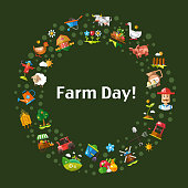 Postcard template of modern flat design farm and agriculture icons