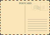 Postcard template. Vintage postcard with stamps