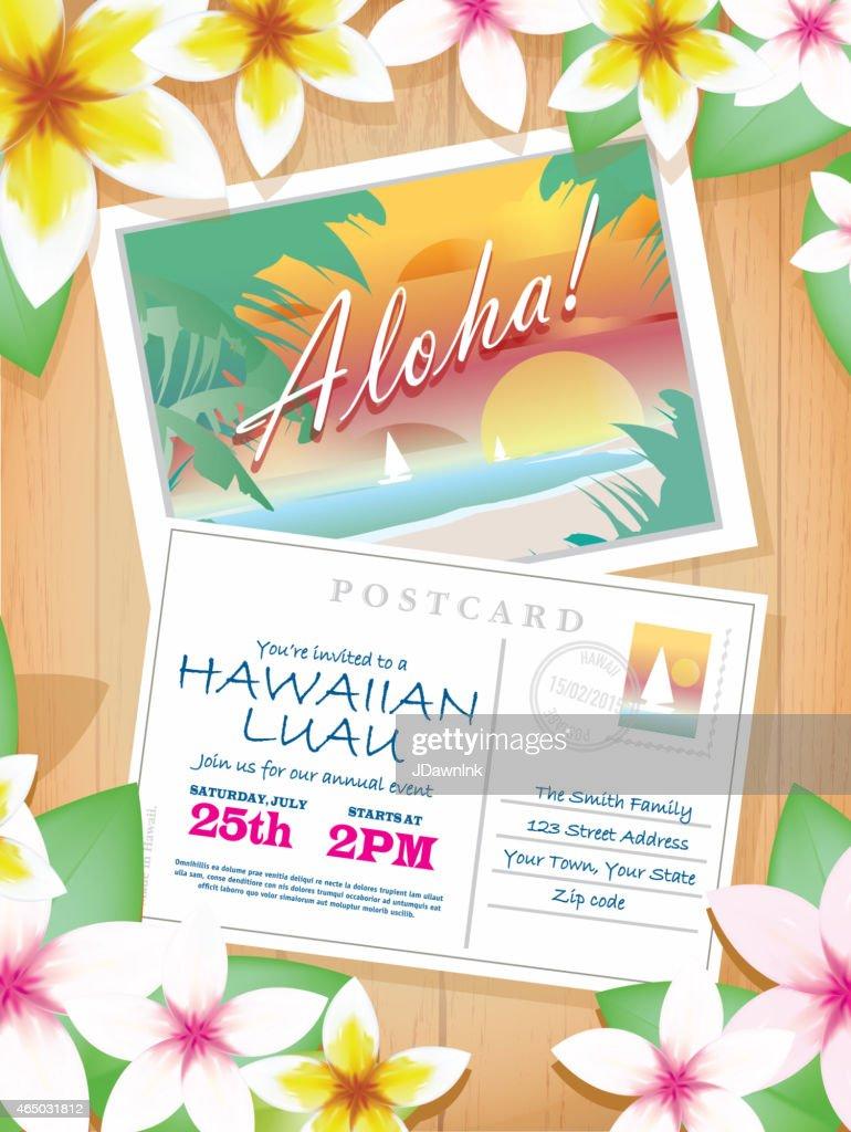 Postcard Themed Hawaiian Luau Invitation Design Template Vector Art