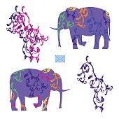 A postcard with a couple of elephants