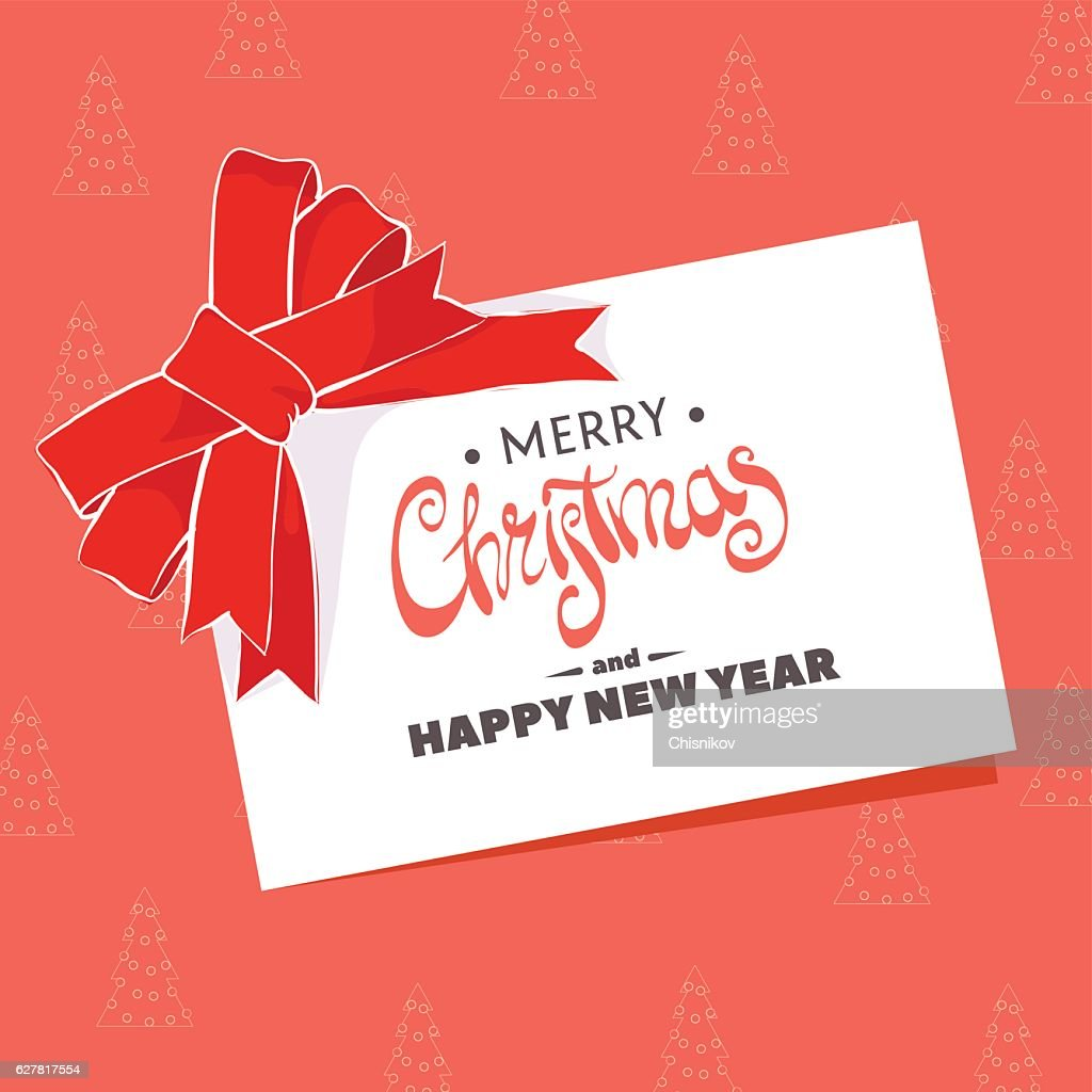 Postcard With The Words Merry Christmas Vector Art   Getty Images