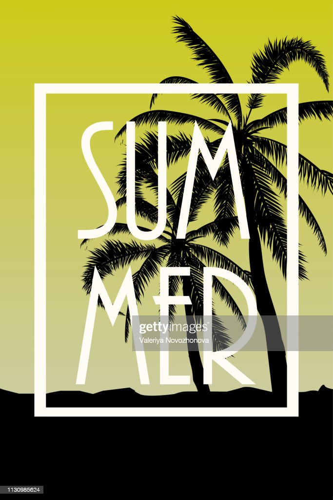 Postcard with tropical landscape Summer background Palm trees silhouette. Vector illustration.