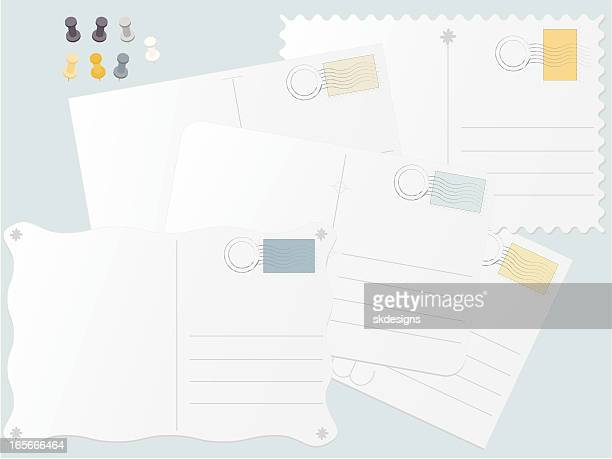 Postkarten, Briefmarken und Thumbtacks Set