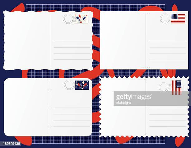 postcards set - fourth of july theme - postcard stock illustrations, clip art, cartoons, & icons