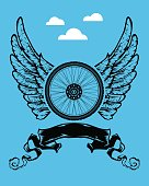 Poster, bike's wheel and wings