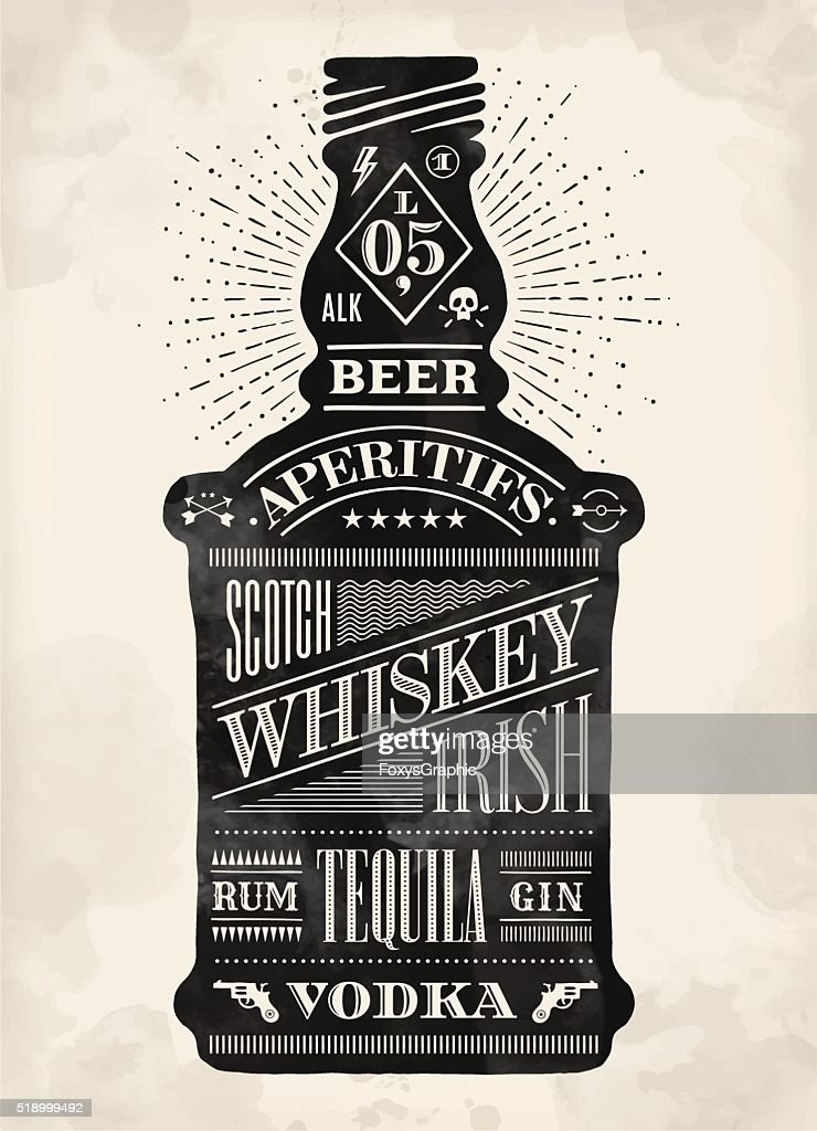 Poster bottle of alcohol with hand drawn lettering