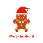 Poster Christmas Gingerbread on a white background. Christmas gingerman. Cute cartoon Gingerbread.