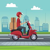 poster city landscape with fast delivery man scooter with packages