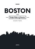 Poster city skyline Boston, vector illustration
