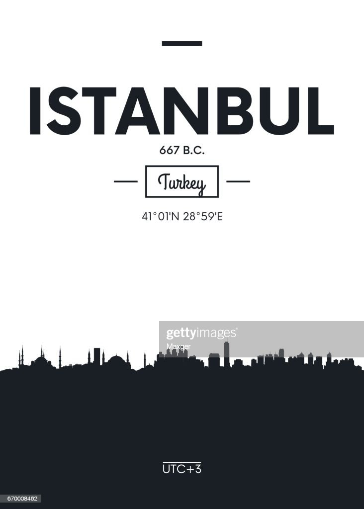 Poster city skyline Istanbul, vector illustration