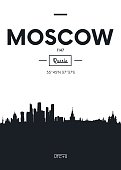 Poster city skyline Moscow, vector illustration