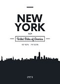 Poster city skyline New York, vector illustration