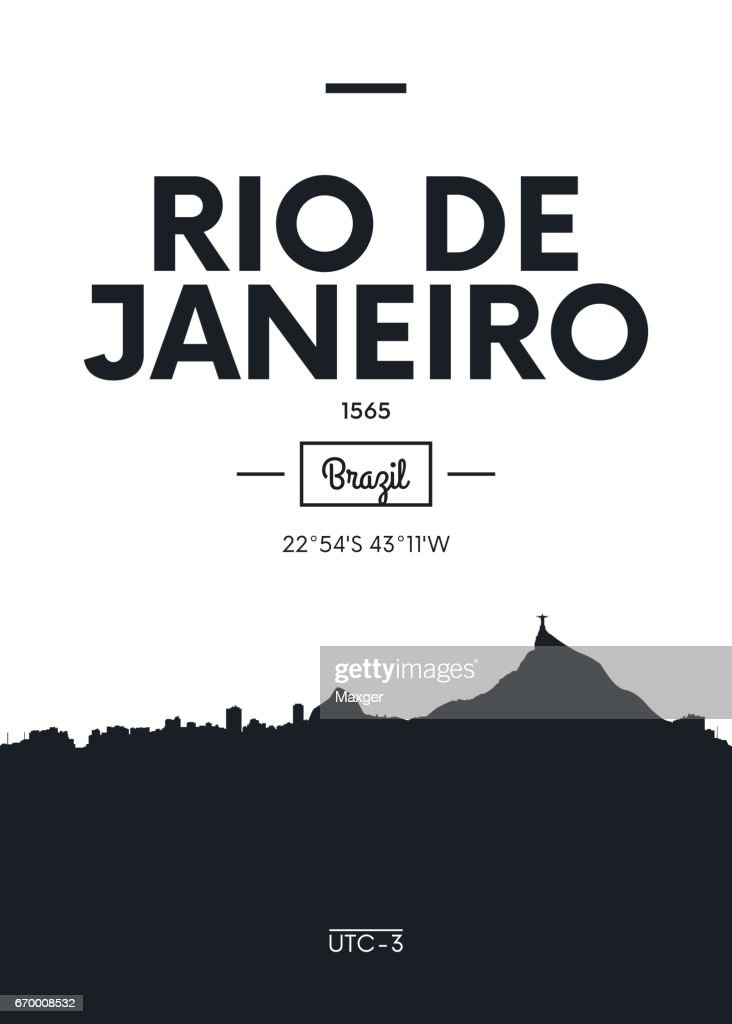 Poster city skyline Rio de Janeiro, vector illustration