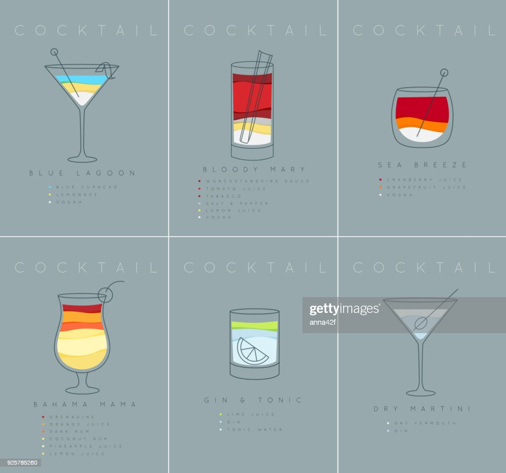Poster cocktails Blue Lagoon grayish blue