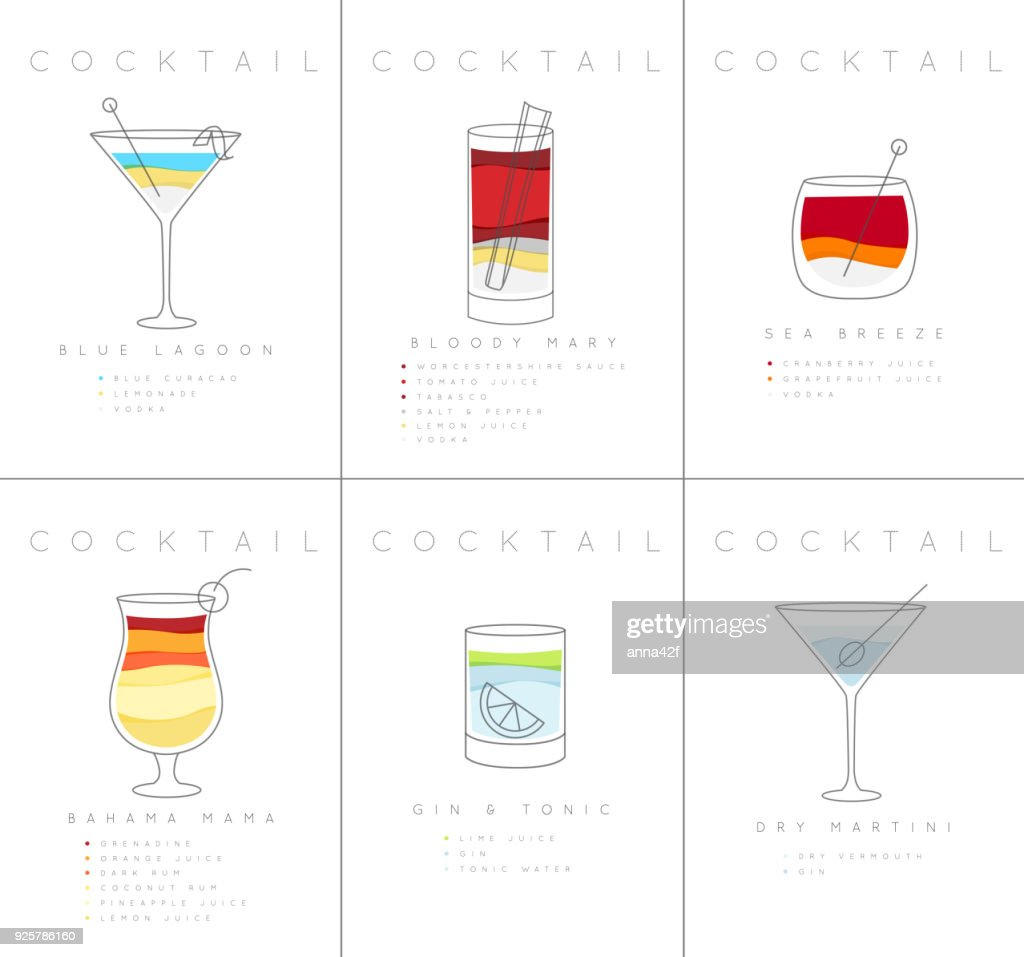 Poster cocktails Blue Lagoon