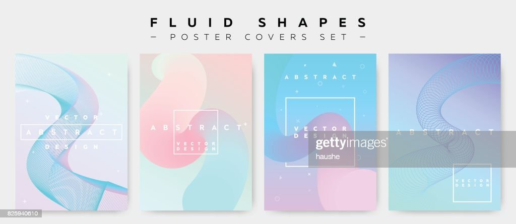 Poster Covers Set with Fluid Shapes. Modern Hipster Retro Pattern.