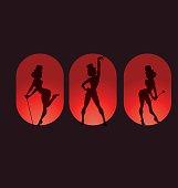 poster design with silhouette cabaret burlesque