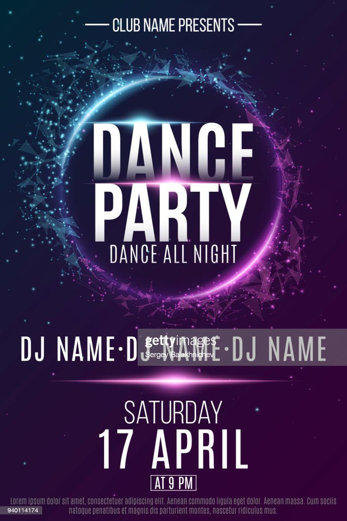 Poster for a dance party. Night party. Festive geometric neon flyer. Banner from geometrical plexus particles. Name of club and DJ. Vector illustration. EPS 10
