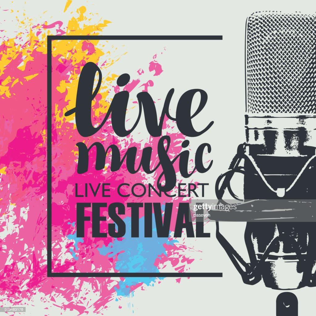 poster for a live music festival with a microphone