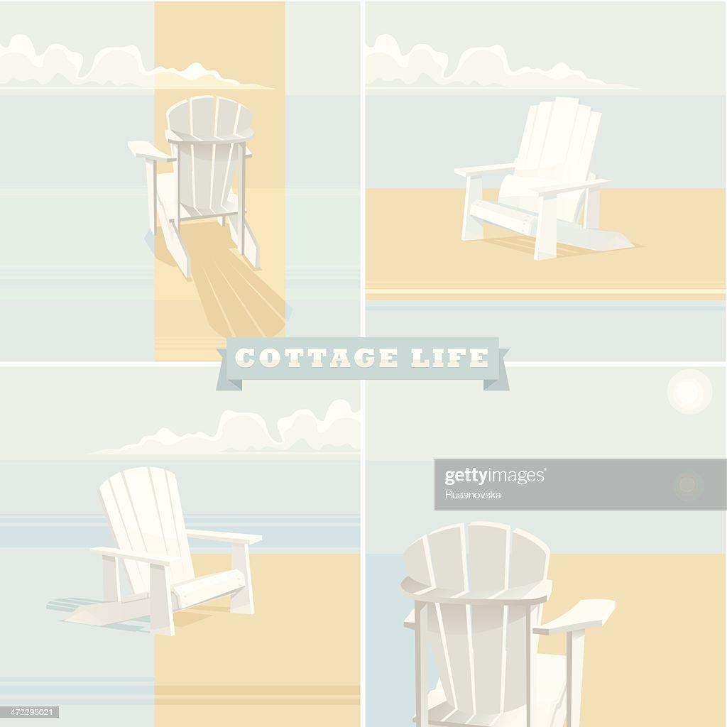 A poster for cottage life with beach chairs