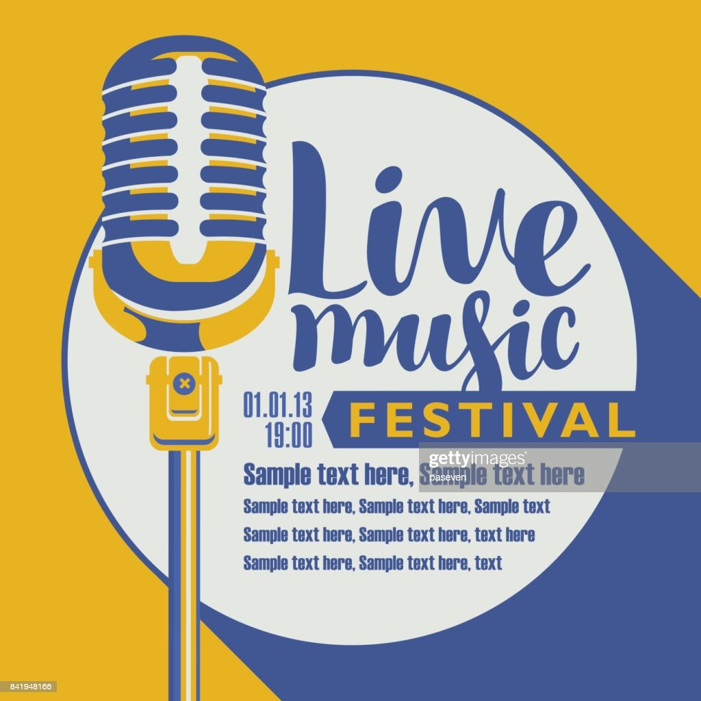 poster for festival live music with a microphone