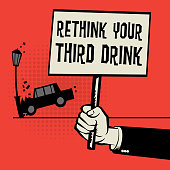 Poster in hand car crash and text Rethink Your Third Drink