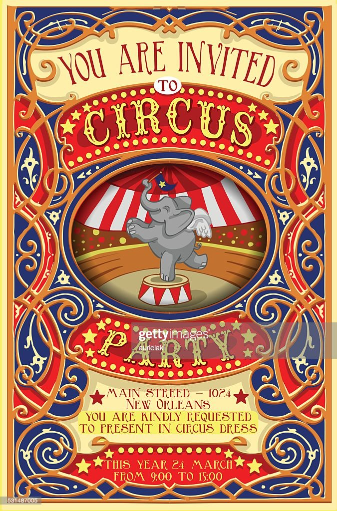 Poster Invite for Circus Party with Elephnant