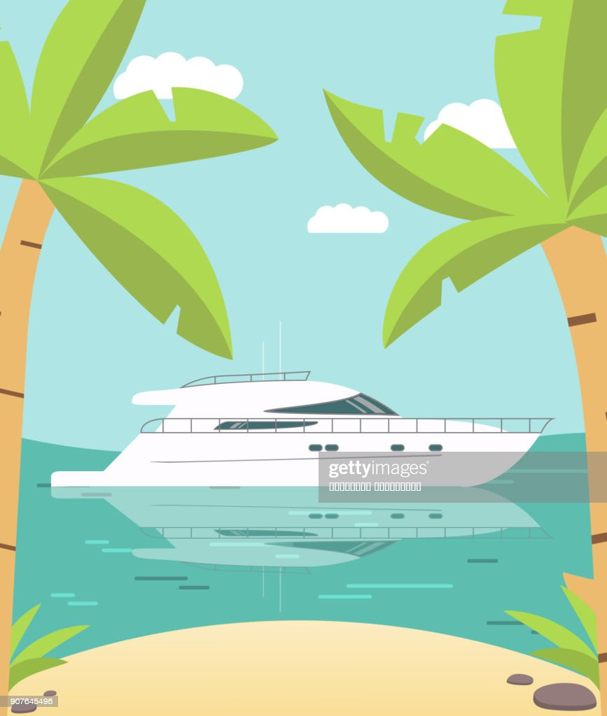 Poster Luxury yacht tropical island with palm trees and the gold beach flat style a vector.Design element for travel companies