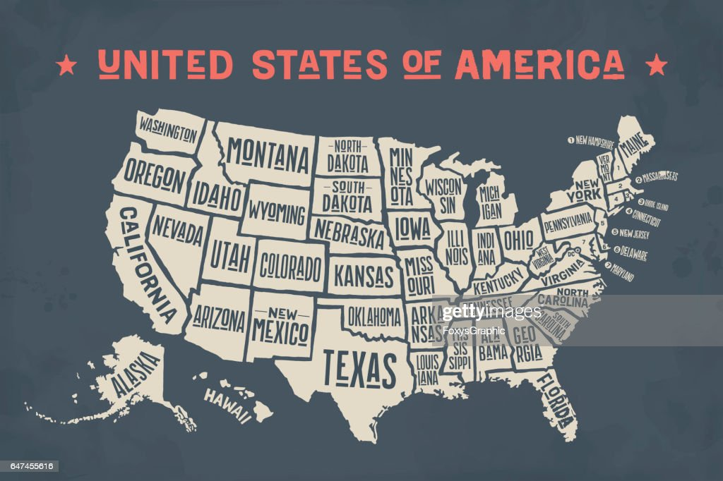 Poster Map United States Of America With State Names High Res Vector Graphic Getty Images