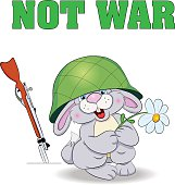 Poster - Not War. Little funny hare in helmet holdi